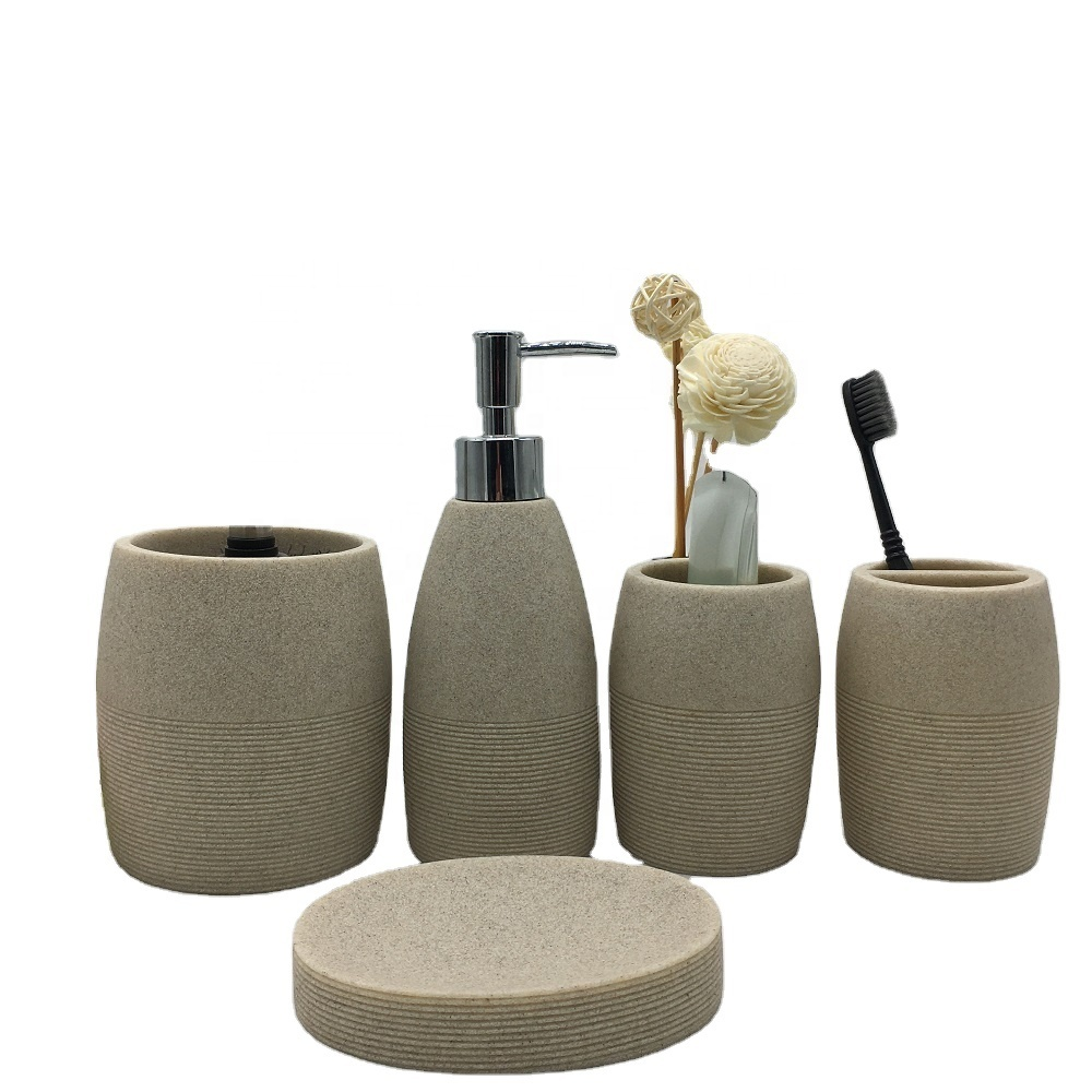 2020 Natural Beige Sandstone Cheap Resin Bath Accessories Sets