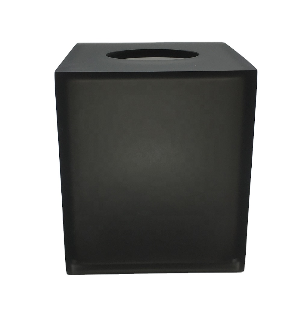 Square Matte Black Clear Resin Bathroom Complete Set Tissue Box for Star Hotel