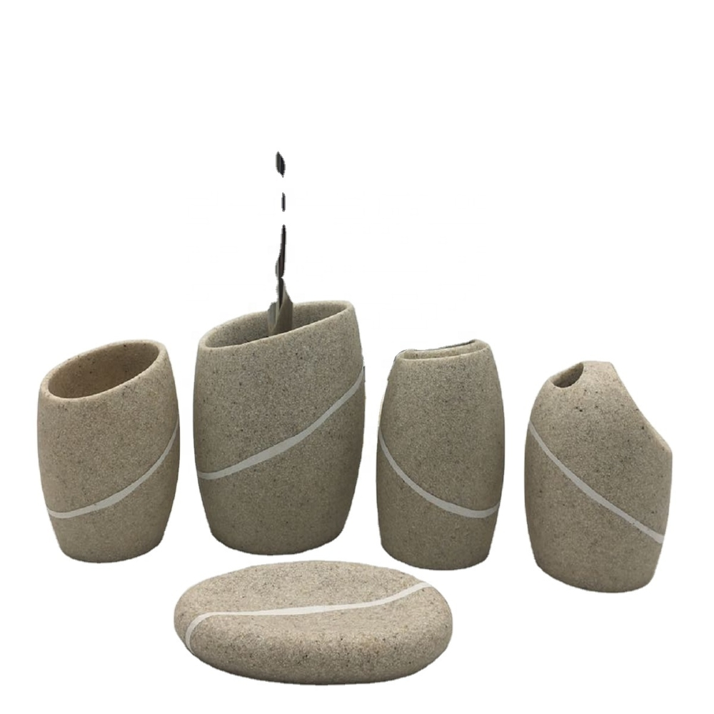 New Design Home Decor Resin & Sandstone Bathroom Accessories Set for Hotel or Home