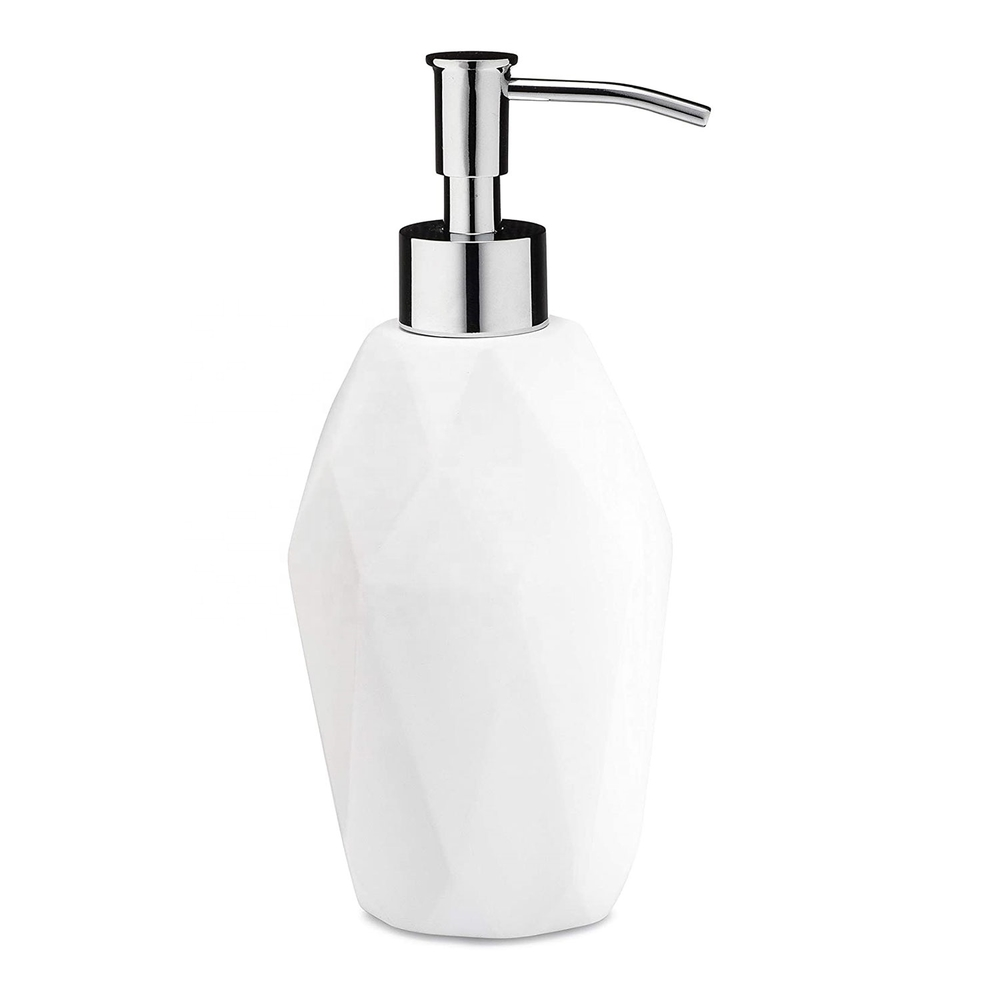 Popular Style 4-Pieces Resin Bathroom Accessories Set with Matt White Color Soap DispenserFor Home & Hotel