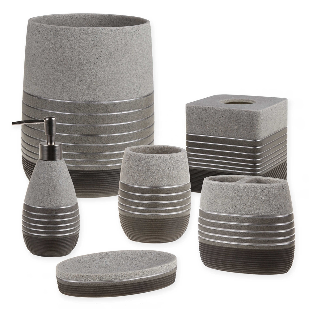 Popular Style 6-Pieces Sandstone Resin & Silver Lines Bathroom Accessories Set For Home & Hotel