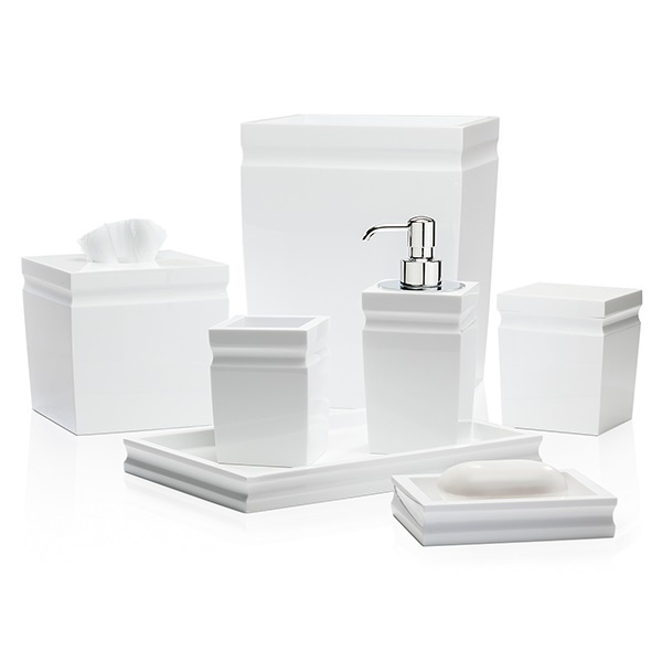 Elegant White Polished Resin Bathroom Set Accessories for Five Star Hotel