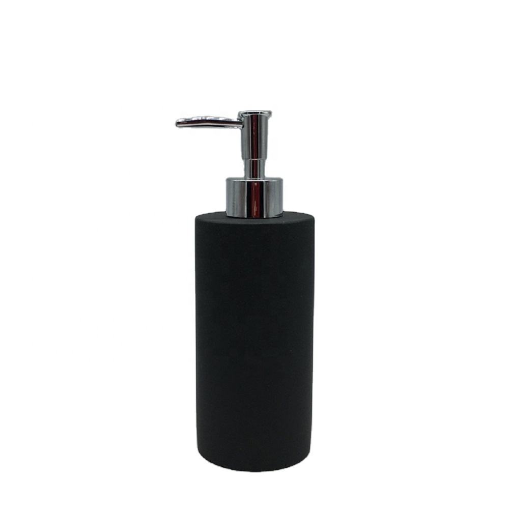 Popular Style 5-Pieces Resin Bathroom Accessories Set with Matt Black Color Soap DispenserFor Home & Hotel