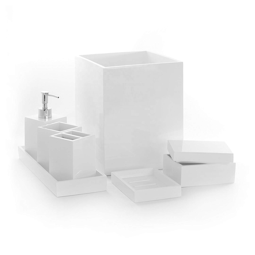 Shiny White Resin Bath Accessory Household Products Bathroom Set