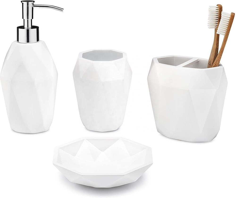 Lifestyle Home Reaction 4-Pieces Resin BathBathroom Accessory Set in Matt White Color For Home & Hotel