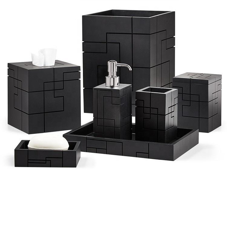 Luxury Matte Black Lines Resin Household Bathroom Accessories Set