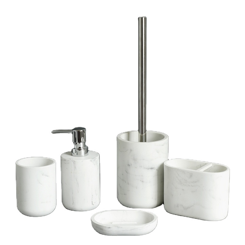 2021 Direct Factory Making 5 Pieces White Marble Effect Resin Bathroom Accessories Set