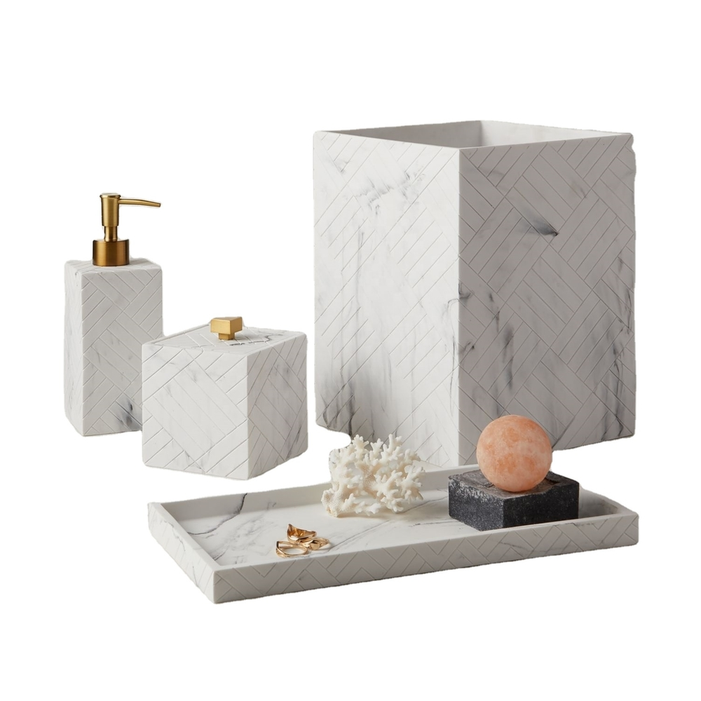 Elegant White Marble Sand Resin countertop Bath Accessories Sets