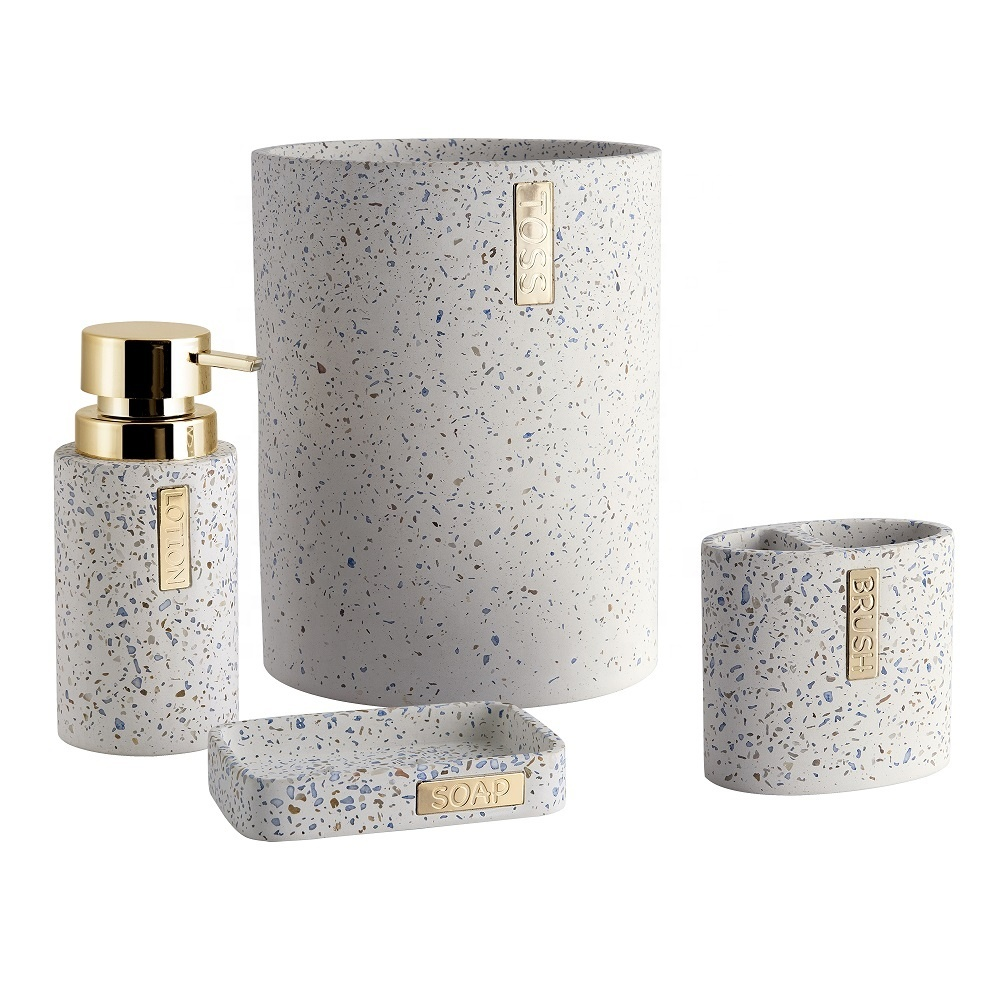 Hot Sale Colors Terrazzo Effect Round Shape Poly resin Bathroom Accessories Set with Soap Dispenser For Hotel or Home