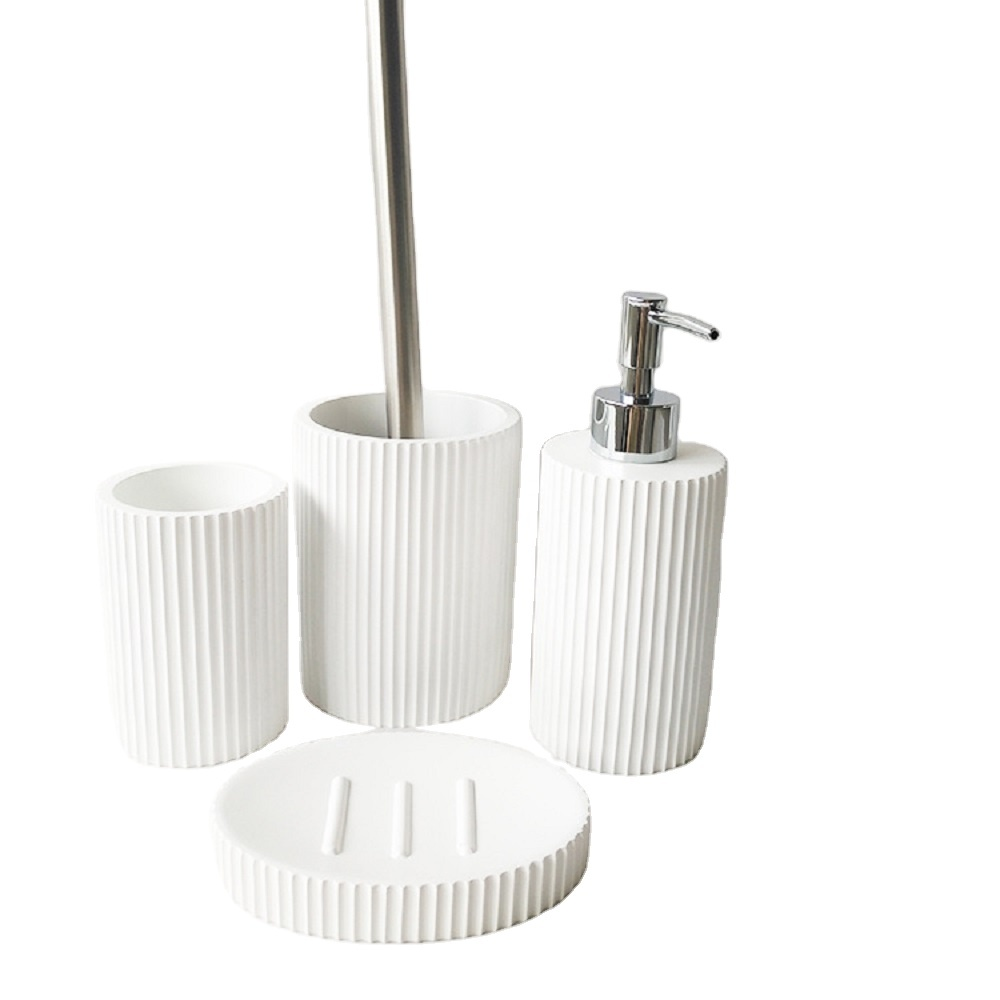 Modern White Sand Resin Bathroom Accessories Sets for Gift