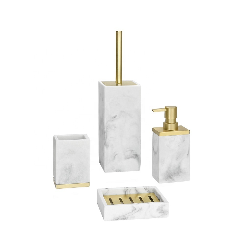 European White Marble Sand Resin Bathroom Set Accessories for Household