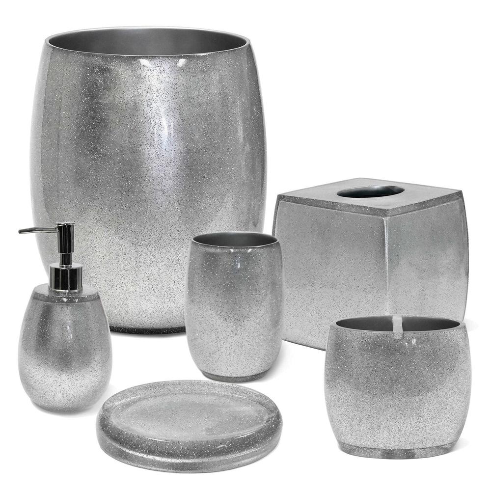 Silver Modern 100% Clear polyresin Bathroom Accessories Set