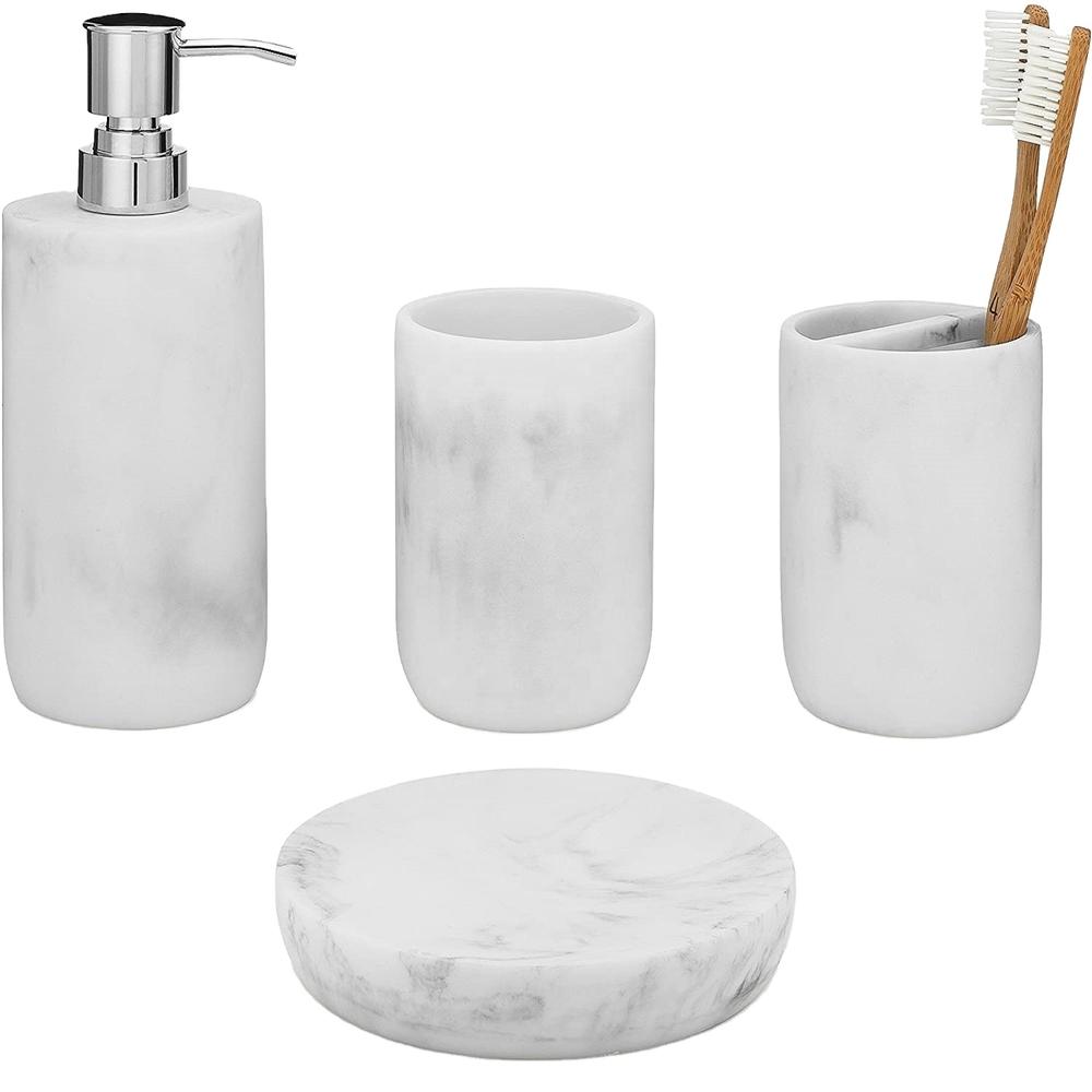 Fashion bathroom accessories eco-friendly and natural resin bathroom bath set