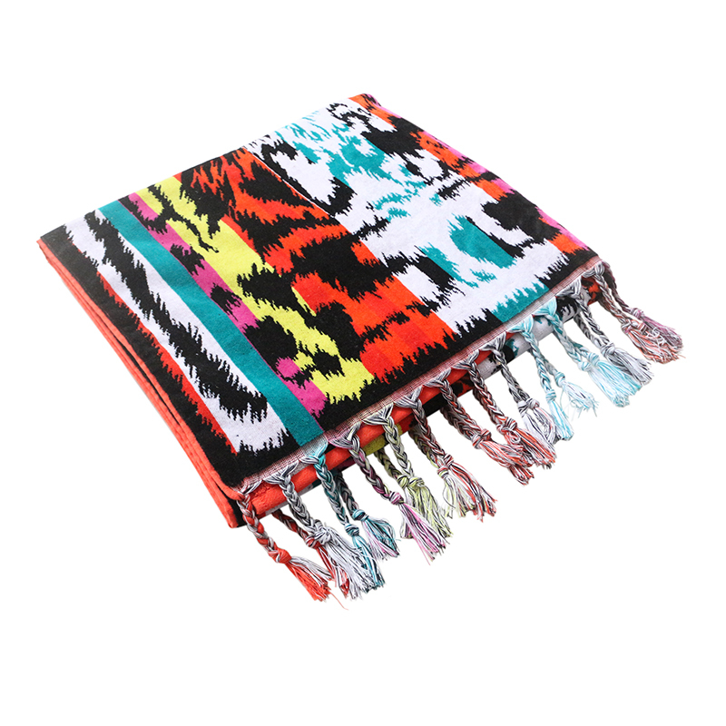100% cotton trend jacquard beach towel with tassel Beach Towel large towel