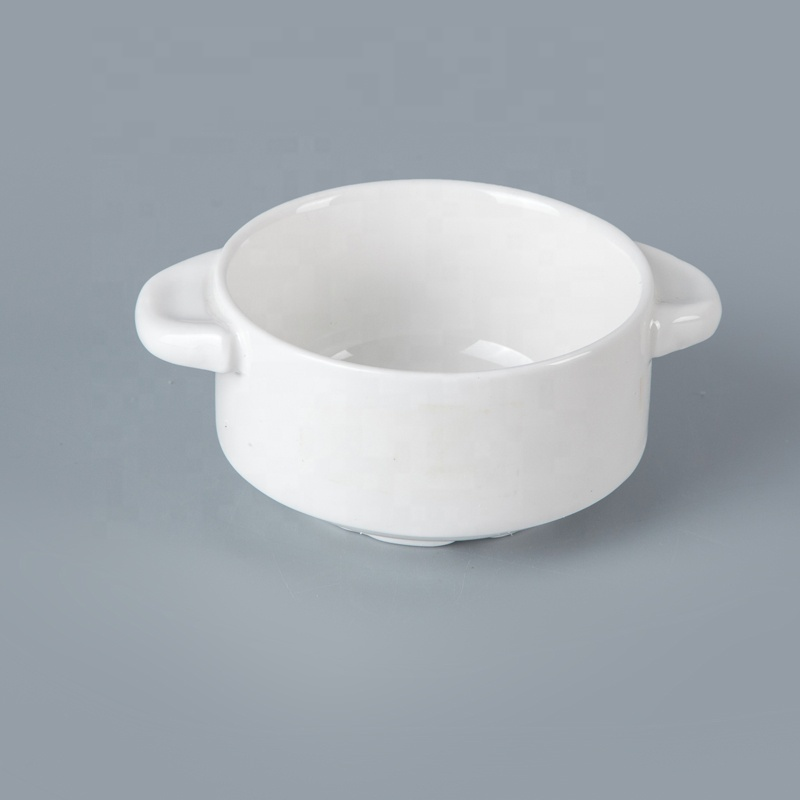 Fresh Look Ceramic Tableware For Hotel Handled Soup Cup, Restaurant Hotel Supplies Ceramic Soup Bowl&