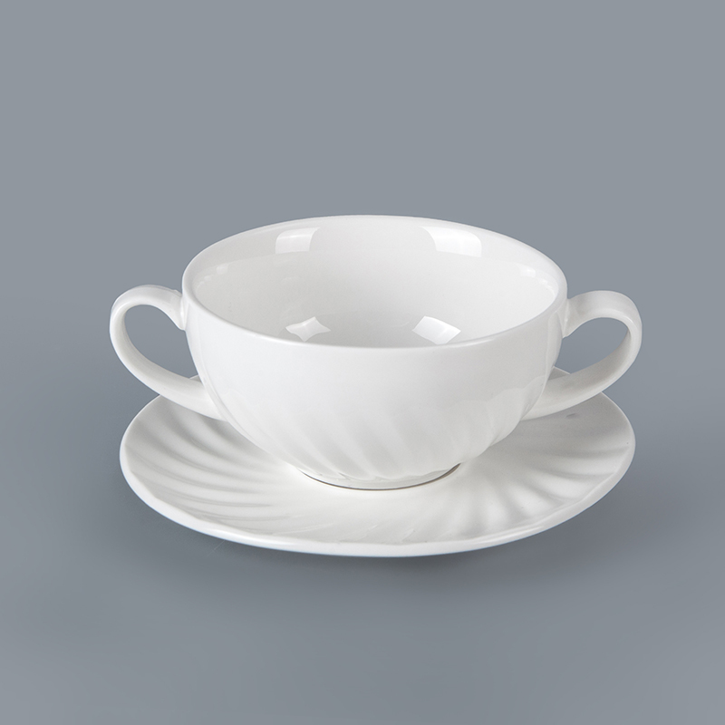 Wholesale porcelain tableware beautifully fractured soup bowls with handles dinner aets ceramics restaurant use coupe soup cup