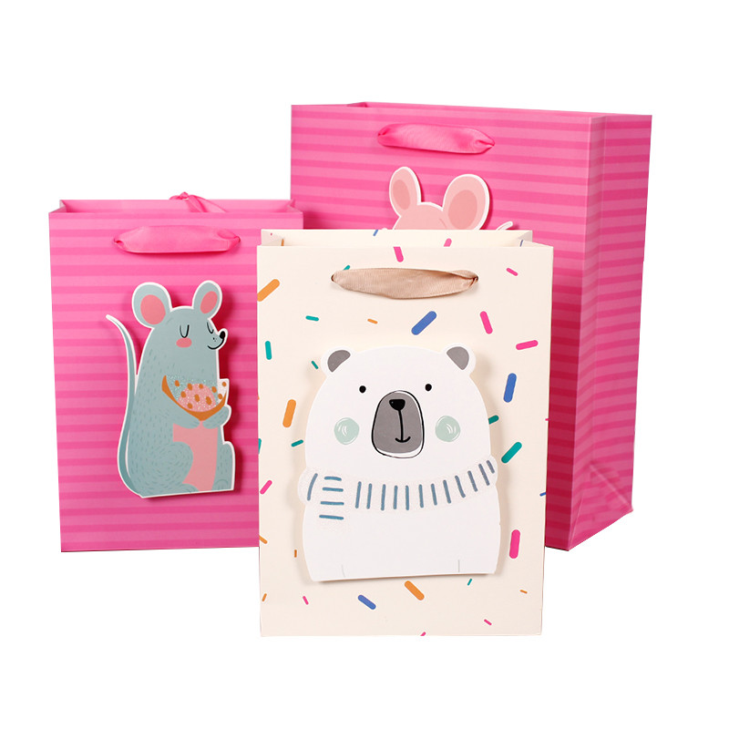 Bag Paper Wholesale Cartoon Animal White Cardboard Shopping Paper Bags With 3D Tips