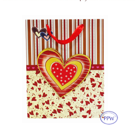 3D Paster Custom Design LOVE Theme Shopping Plain Paper Bag For Wedding Gifts Packaging And Valentine's Day