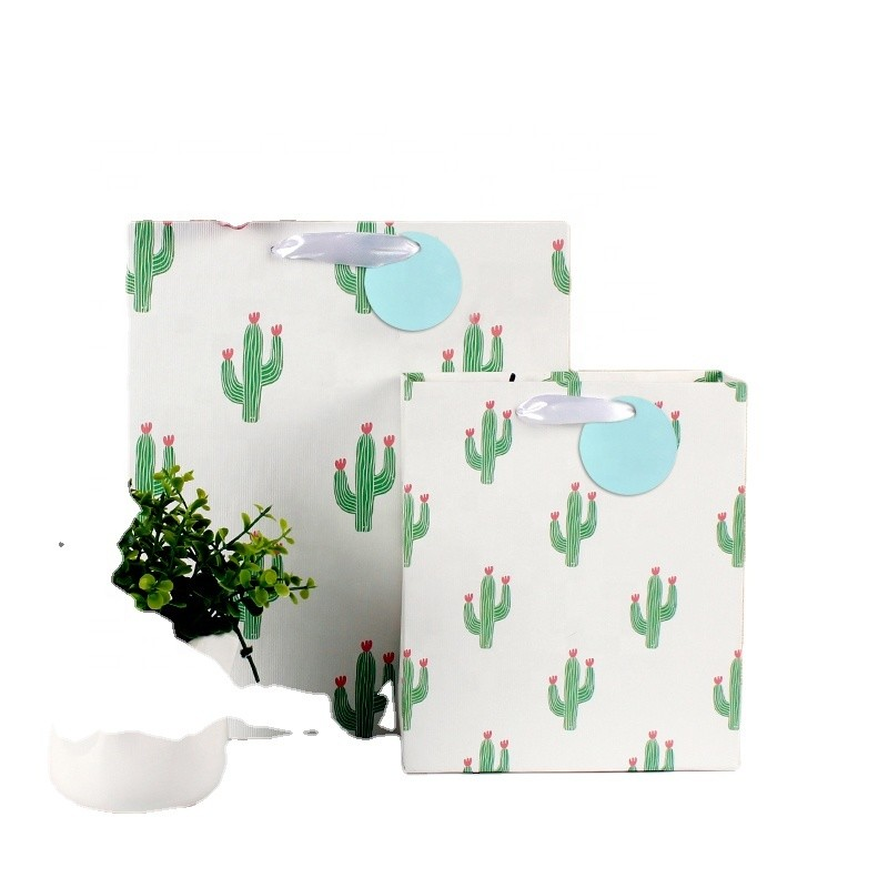 Wholesale Cactus Design Gift Bags With Embossing All Over Four Sides Paper Shopping Bag With Customized Logo