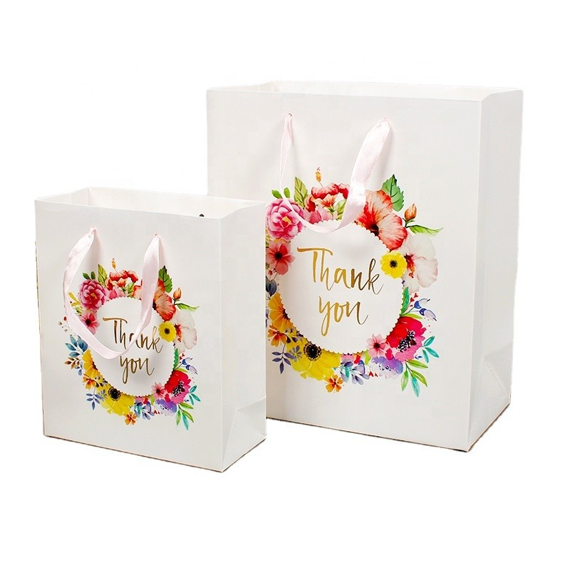 Wholesale Paper Bags White With Flower Printing For Thank You And Birthday Party