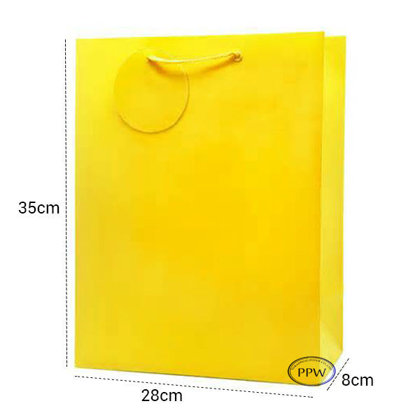 Recycle Eco-friendly Lemon Yellow Zigzag Printing Craft Paper Bag With Twist Handles