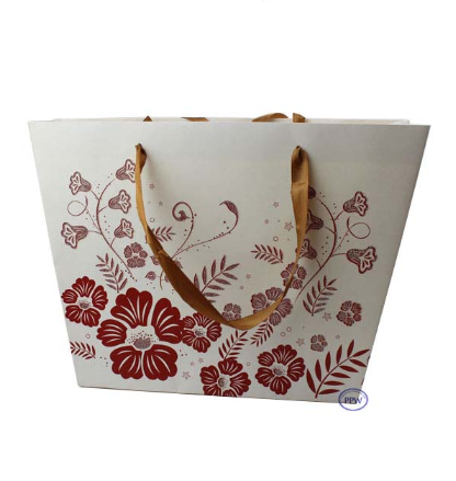 Customised Elegant Flower Design Horizontal Shape Gift PaperBag With Stain Ribbon Handles