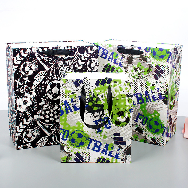 Wholesale Paper Bags With Sporting Style Printing Of White Cardboard Paper Bag For Boys