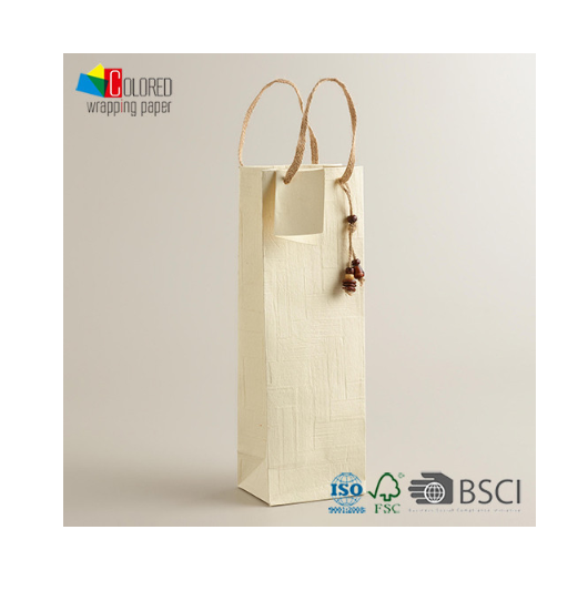 Eco-friendly Wine Paper Bag with a Charm Custom Design LOGO Accepted Jute Handle