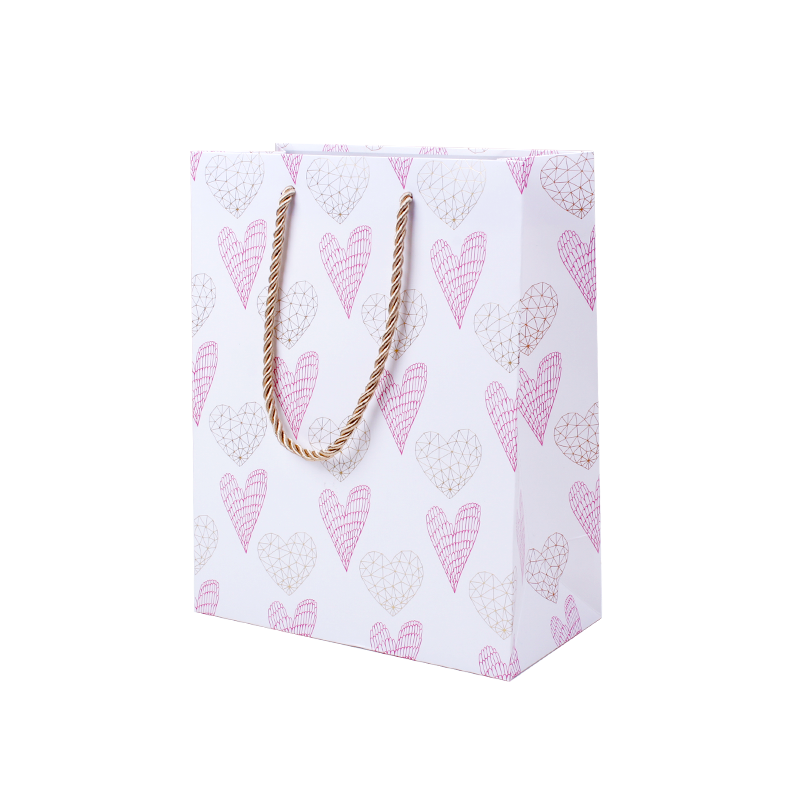 Eco-friendly Width Base Bottom Paper Bag With Heart, White Cardboard Paper Carrier Bags