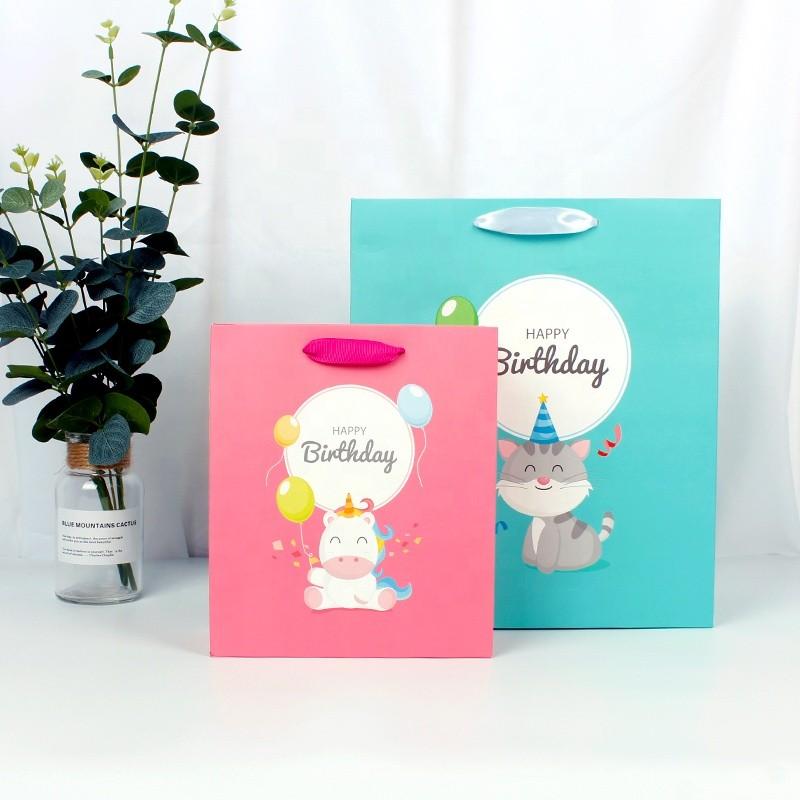 Wholesale Cartoon Birthday Paper Gift Paper Bags Custom Logo For Kids