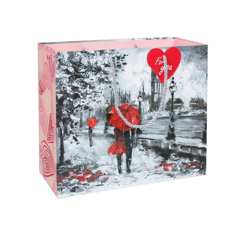 Eco Friendly Paper Bag of Valentine's Day Printing With UV Spot In Front
