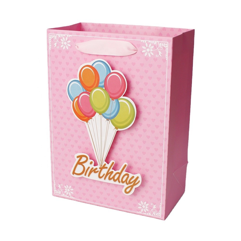 Pink Paper Bag Of Happy Birthday White Cardboard Print Paper Bag With 3D Tips on front