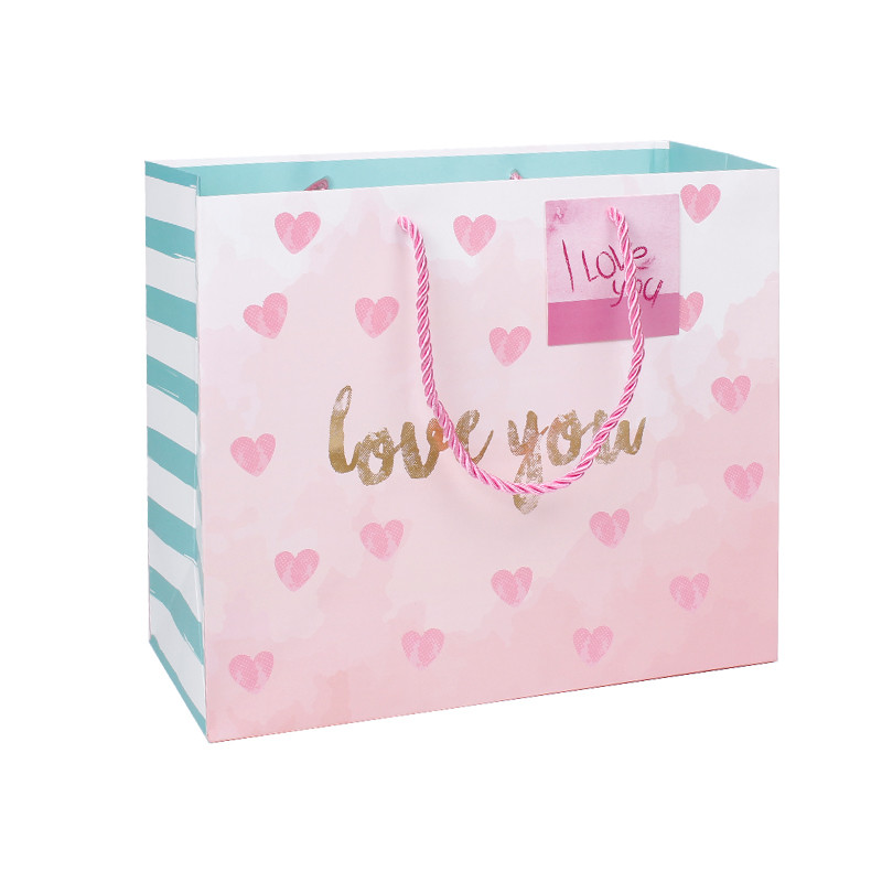 Eco Friendly Paper Bag of Valentine's Day Printing With Gold Foil Hot Stamping
