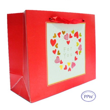 Luxury Style Custom Printed Love Theme GiftPaper Bags for Valentine Day Gift Packaging and Wrapping