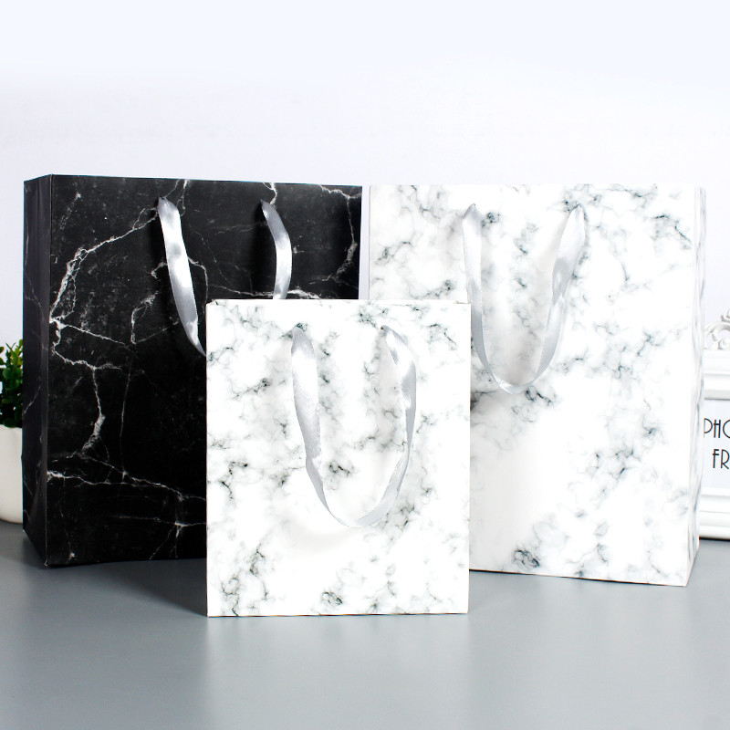 Hot Popular Marble Paper Bags For Shopping Elegant Gift Paper Bag With Your Logo