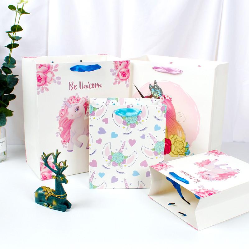White Shopping Paper Bag, Cartoon Kids' Paper Bag, Lovely Gift Paper Bag