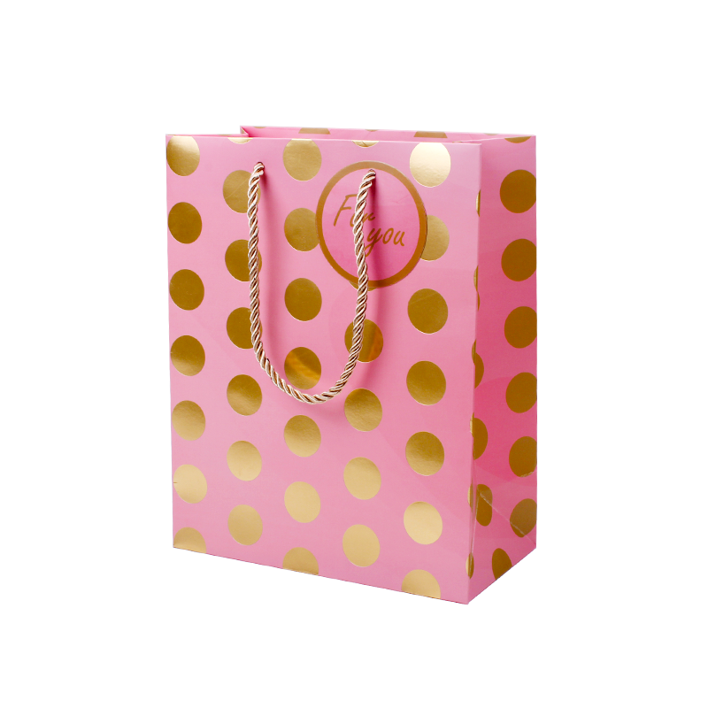 Wholesale Eco-friendly Personalized Paper Bag With Gold Foil Hot Stamping