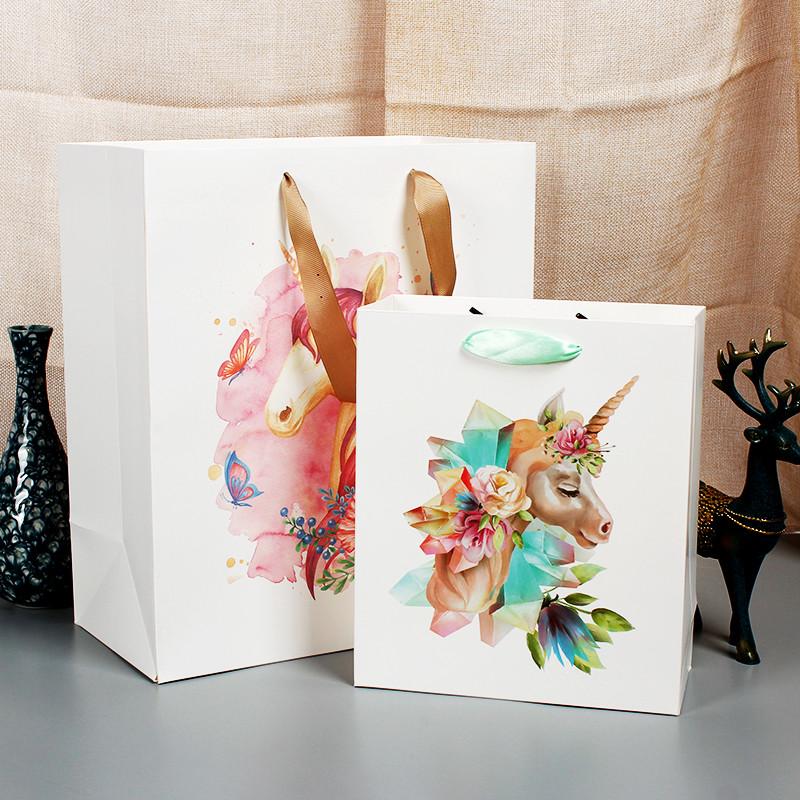 Hot Selling Cartoon Unicorn Paper Bag Custom Print With Ribbon Handles