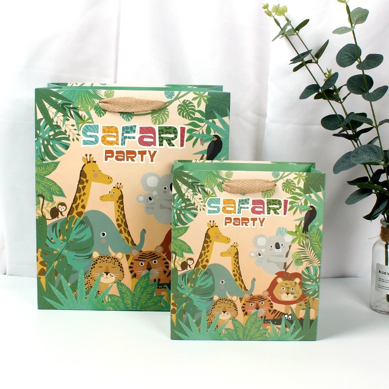 Wholesale Gift Paper Bag Printed Cartoon Animal Design With Stain Ribbon Handle Accept Customized