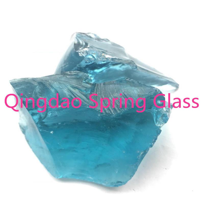 Blue Color Glass Chunks Strip Shape
