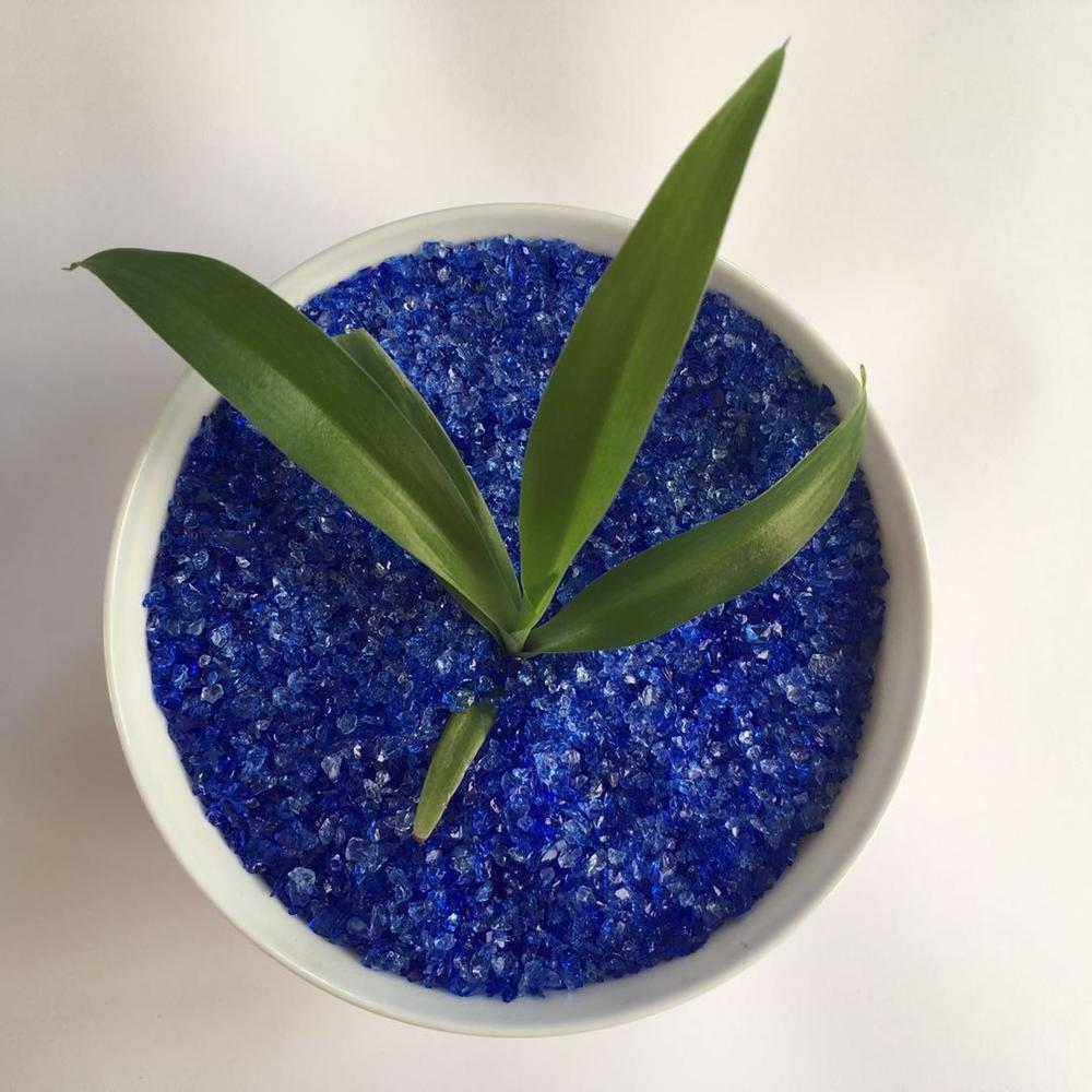 Blue Crushed Glass Chips and Rocks for Outdoor Decoration Fireplace Gems