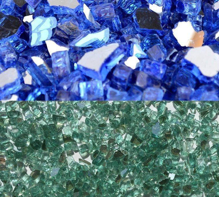 Blue and Green Color Garden Gabion Slag Glass Rocks