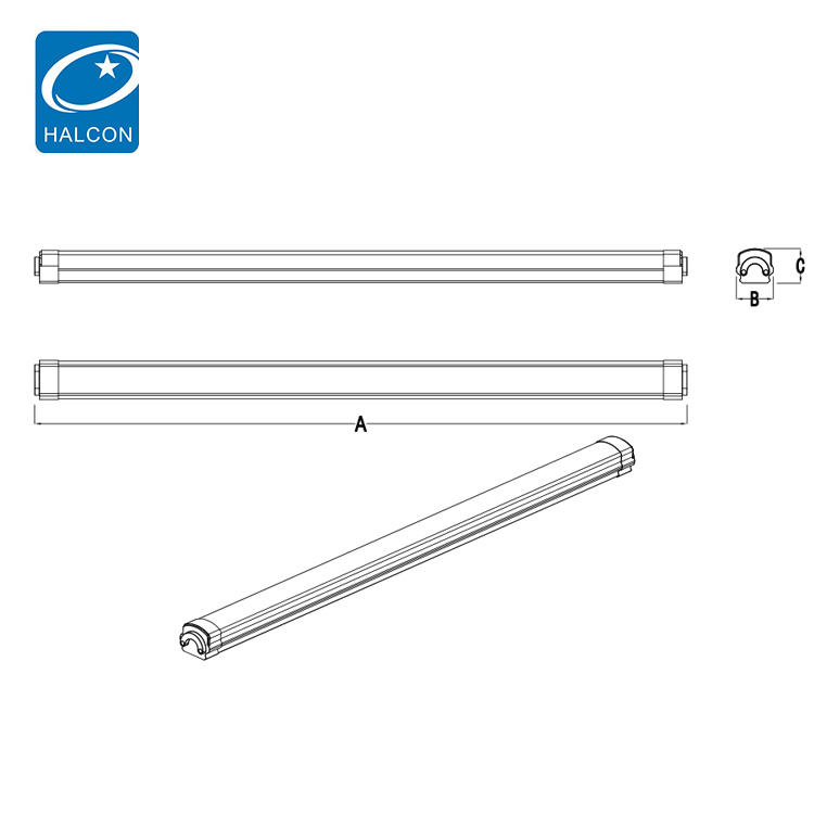 New style dimming waterproof ip65 indoor 4ft 8ft 36watt 60watt slim led tri-proof light