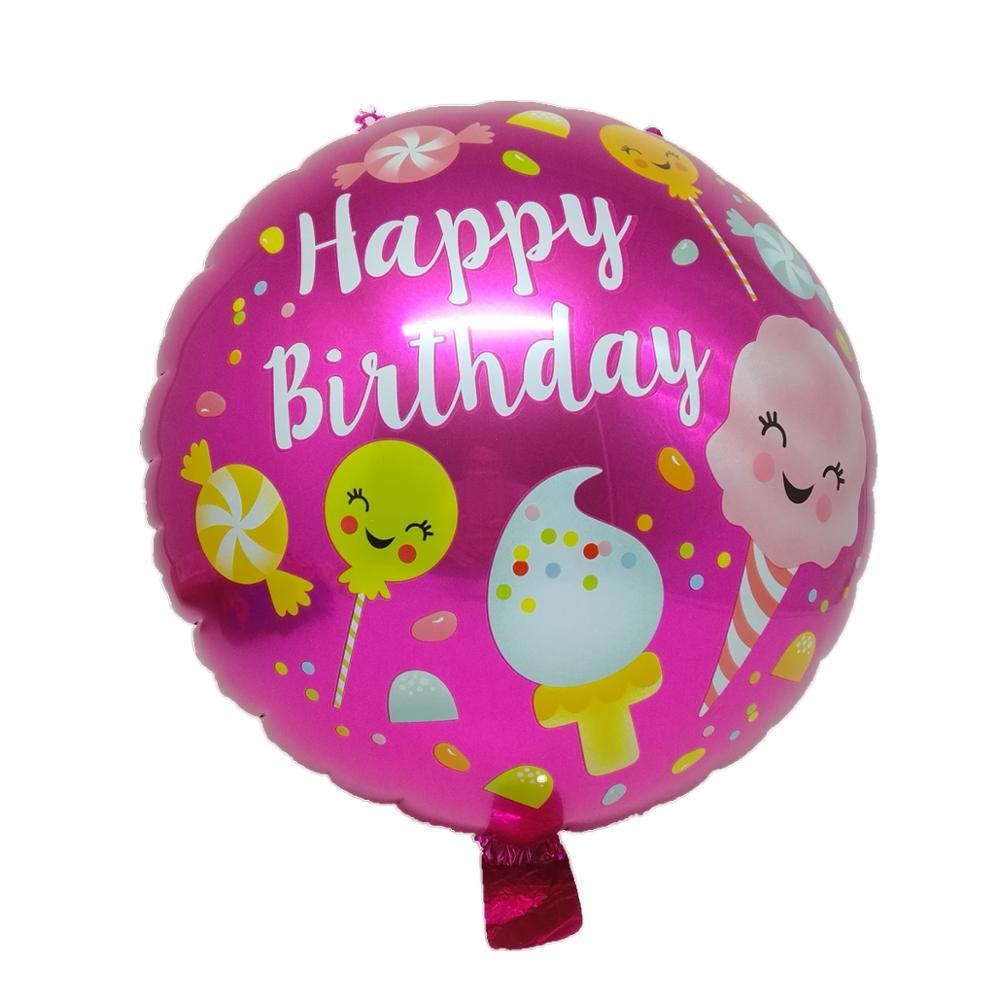 18 inch happay birthday decoration pink foil helium balloon