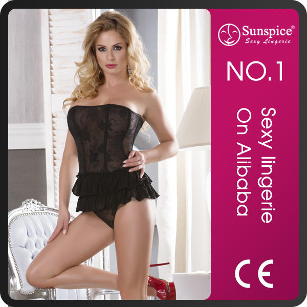 Large size lady suspender corset sexy lingerie