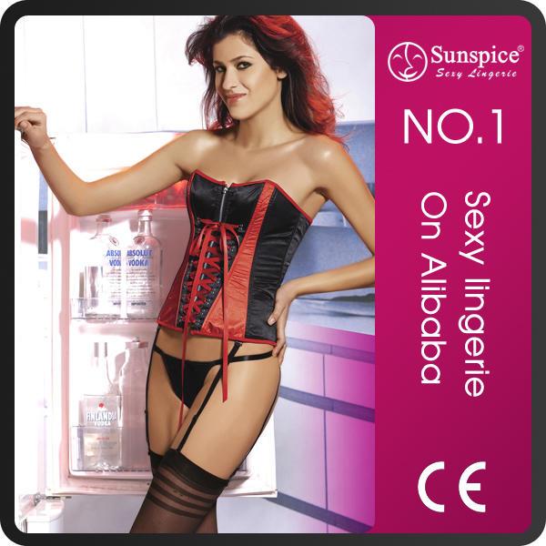 Sunspice zipper opening boning fat women plus size waist training corset