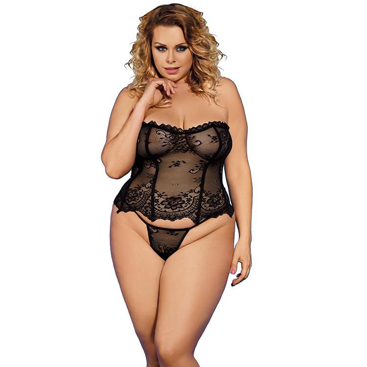 big girl Floral women lace plus size sexy corset