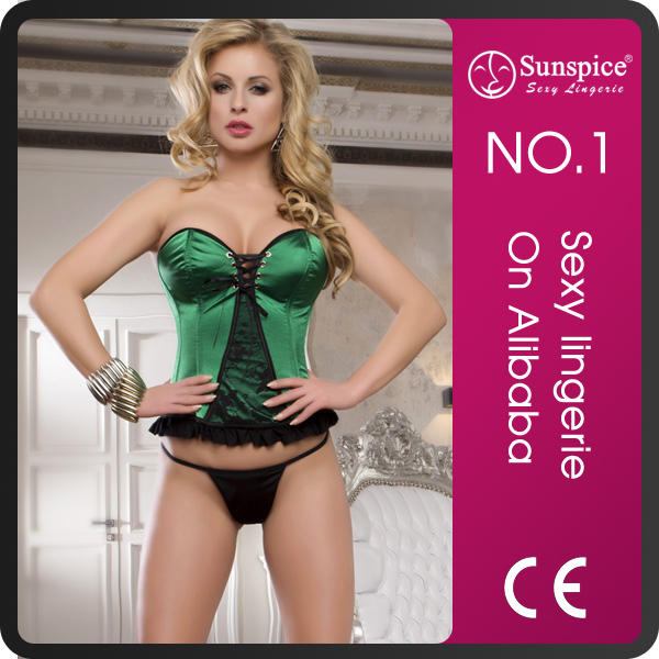 China supplier top quality sexy hottie bodysuit shaper green corset