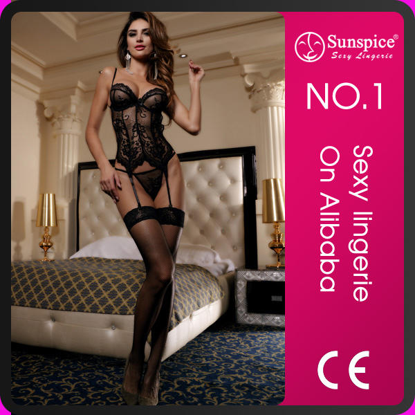 China Supplier Hot Sexy Women Lace Plus Size Corset with Garter Belt