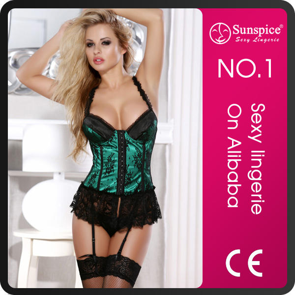 Sunspice plus size lace overlay half cup lift shapers fat women xxxl sexy leather corset